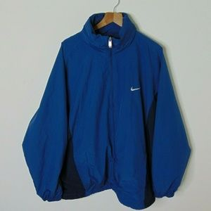 Nike 2XL Full Zip Windbreaker Rain Jacket Blue